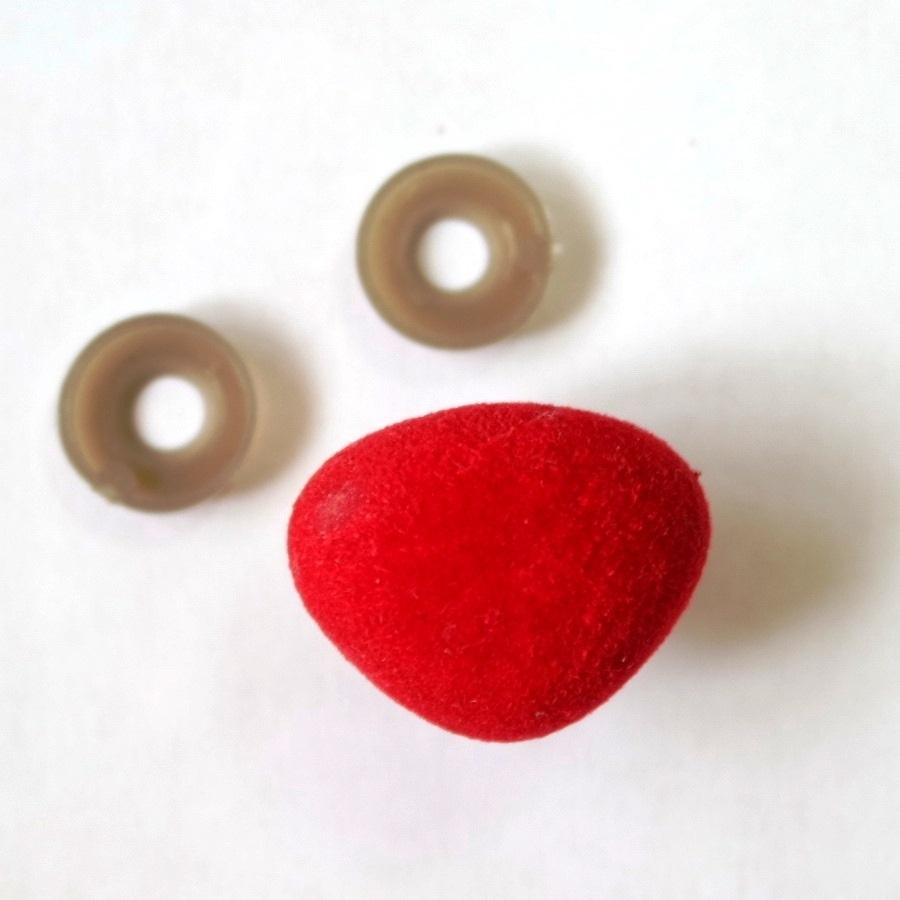 Нос бархатный винтовой 26х21 мм красный