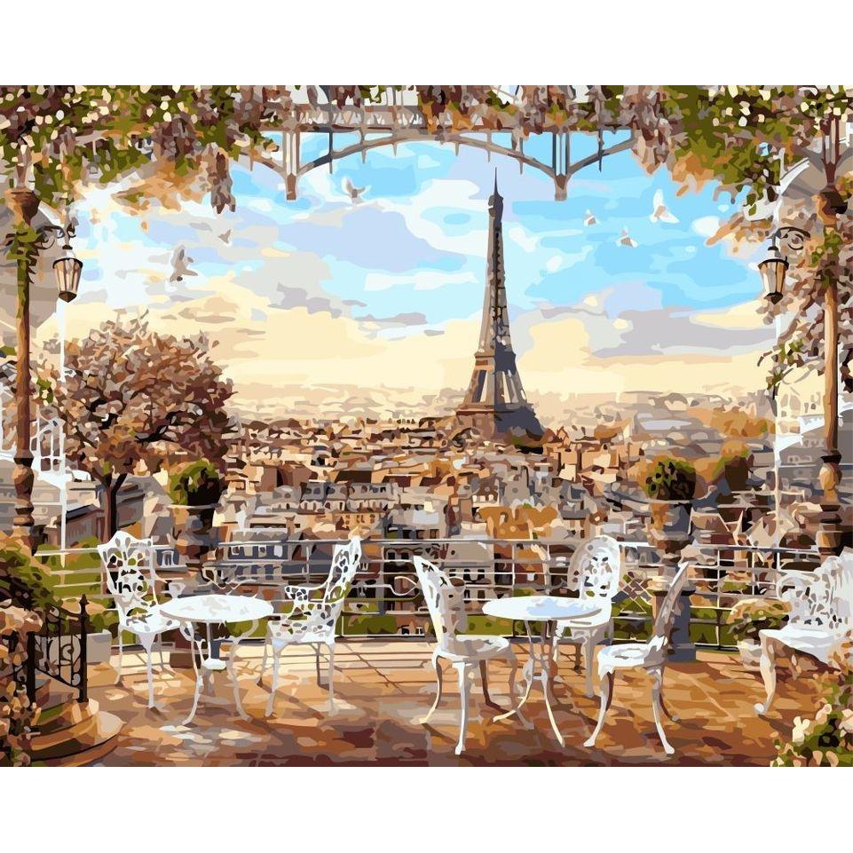 Картина по номерам GX8876 Парижская терраса 40х50см