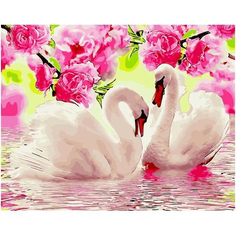 Картина по номерам GX 34649 Лебеди под цветущими ветками 40х50 см