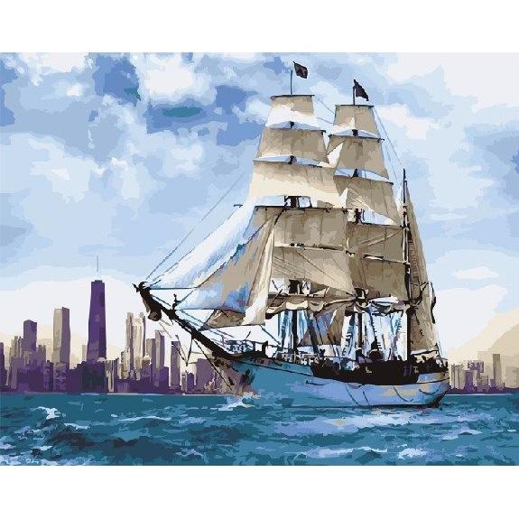 Картина по номерам GX 5683 Корабль на фоне города 40х50 см
