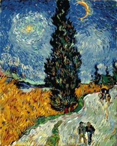 Картина по номерам GX7927 Кипарисы на фоне звездного неба Винсента Ван Гога