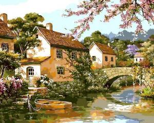 Картина по номерам MG6010 Двухэтажные домики у реки