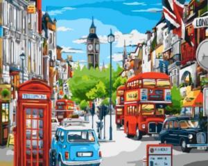 Картина по номерам GX8969 Лондонская улица в ярких красках