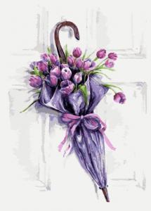 Картина по номерам ME1083 Цветочный зонт