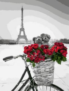 Картина по номерам EX5747 Красные цветы в корзинке на фоне Эйфелевой башни