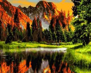Картина по номерам GX3348 Пылающий закат в горах