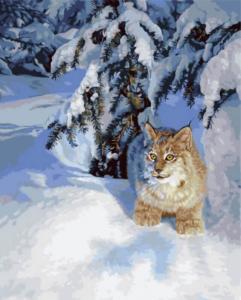 Картина по номерам GX5754 Рысь в снегу