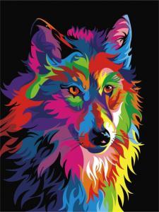Картина по номерам ME1002 Волк поп-арт
