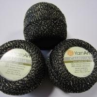Пряжа YarnArt Camellia (413 черный-золото)