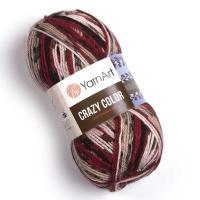 Пряжа YarnArt Crazy Color (156 м. красный/черный/бежевый)