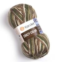 Пряжа YarnArt Crazy Color (159 м. зеленый/бежевый/белый)