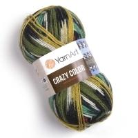 Пряжа YarnArt Crazy Color (163 м. зеленый/оранжевый)