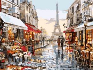 Картина по номерам EX5691 Нарядная парижская улочка