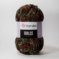 Пряжа YarnArt Dolce (809 зелёный/коричневый принт)
