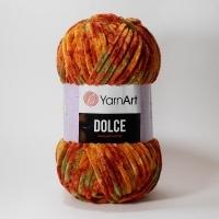 Пряжа YarnArt Dolce (810 терракот/салат принт)