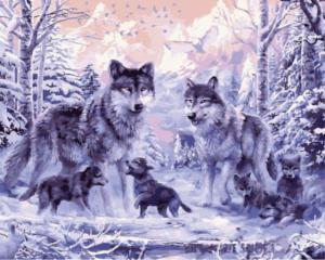 Картина по номерам GX8366 Ночные волки