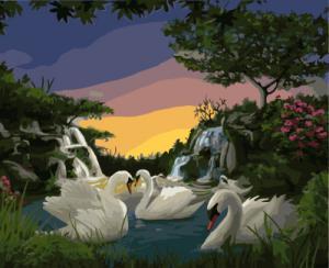 Картина по номерам GX7807 Лебеди