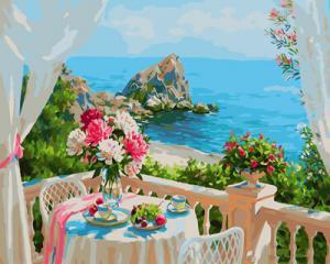 Картина по номерам GX29309 Балкончик с видом на море