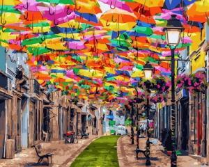 Картина по номерам GX30102 Улица зонтиков
