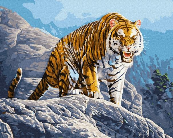 Картина по номерам PK 35036 Тигр в горах 40х50см