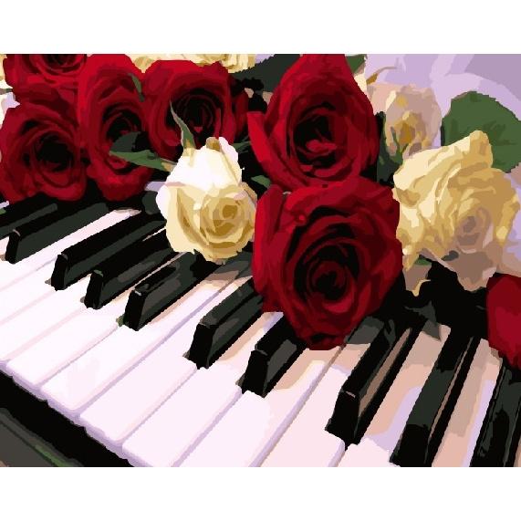 Картина по номерам GX 24565 Розы на пианино 40х50 см