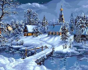 Картина по номерам MG6147 Зимняя деревня