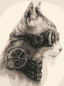 Картина по номерам MG2127 Стимпанк кот