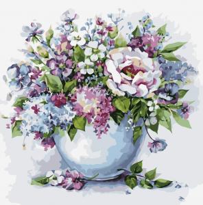 Картина по номерам MG2102 Нежные цветы в белой вазе