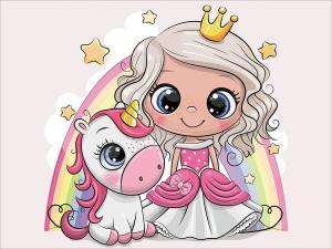 Картина по номерам MC1095 Принцесса и единорог