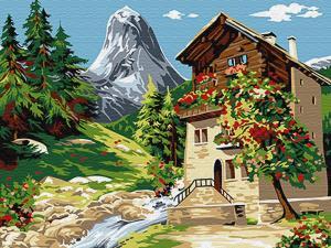 Картина по номерам EX6081 Дом у горы