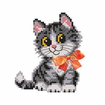 Котёнок с бантом (набор для вышивания крестом)