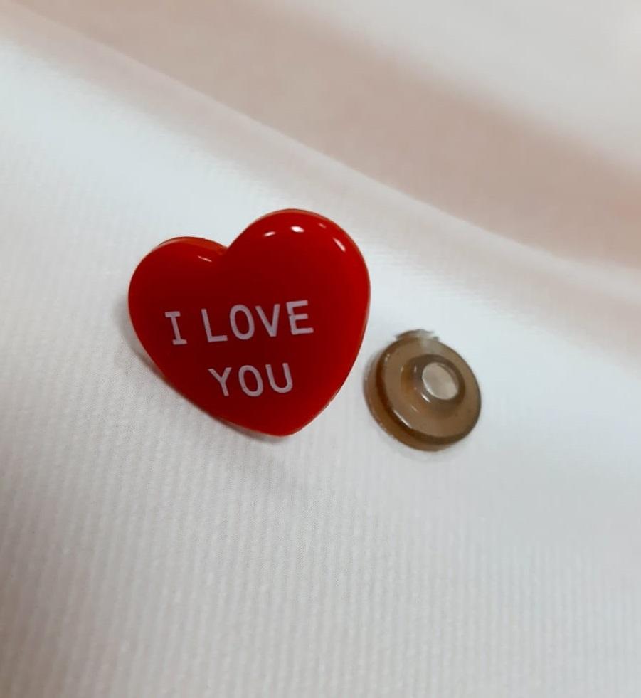 Сердце I love You с крепежом 2 см, 1 шт