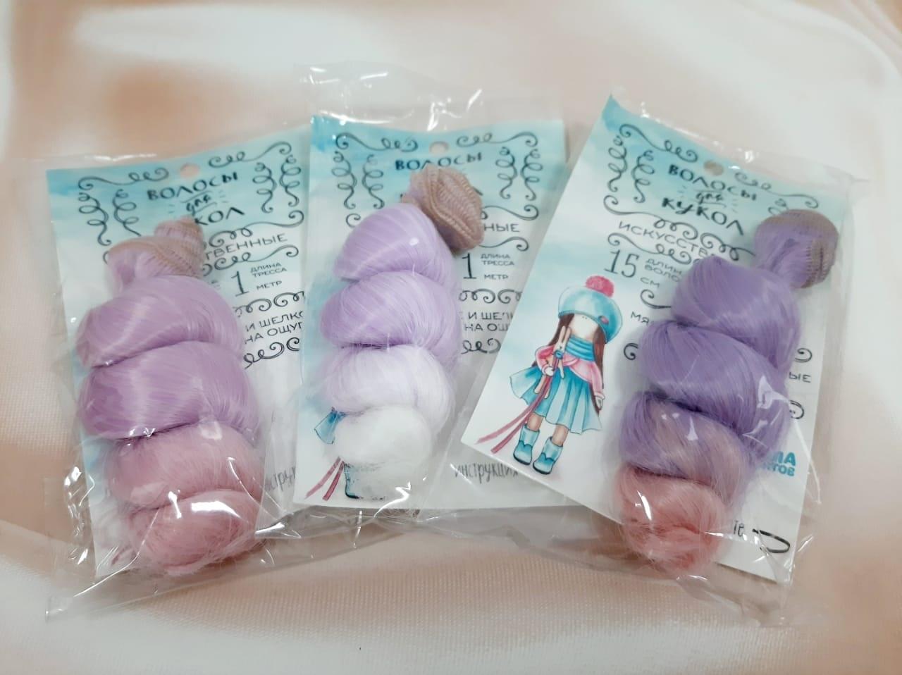 Волосы - тресс для кукол Кудри длина волос 15 см, ширина 100 см, №LSA024   3588521