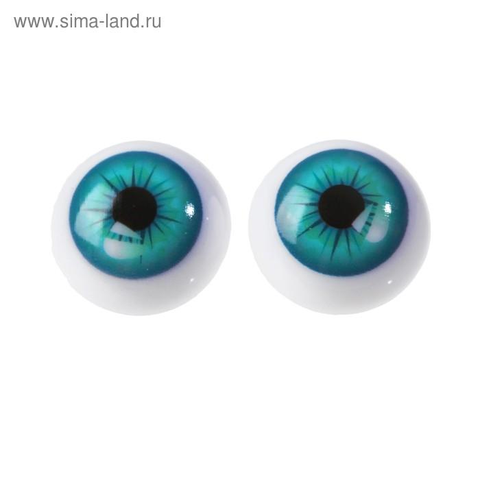 Глаза винтовые с заглушками, 24 мм голубые 3783455