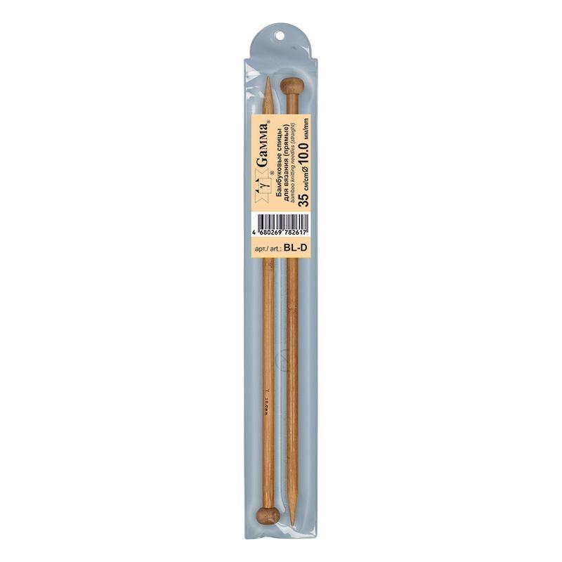 Спицы прямые бамбук BL-D 10 мм 35 см