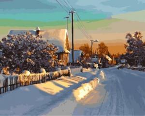 Картина по номерам GX5179 Зима в деревне