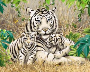 Картина по номерам GX7810 Белые тигры