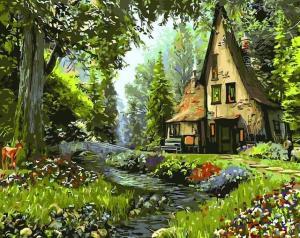 Картина по номерам GX3222 Домик в лесу