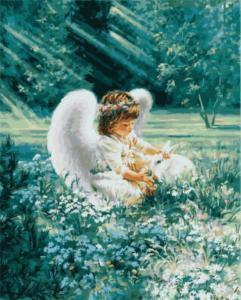Картина по номерам GX8484 Ангелочек с кроликом