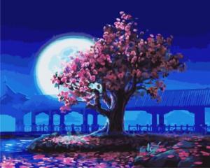 Картина по номерам GX5376 Розовое дерево на фоне луны