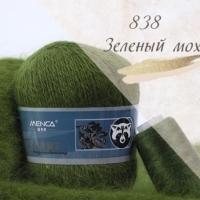 Пряжа Пух норки (Long mink wool) (838 зеленый мох)