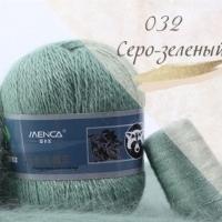 Пряжа Пух норки (Long mink wool) (032 серо-зеленый)
