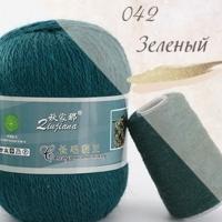 Пряжа Пух норки (Long mink wool) (042 зеленый)