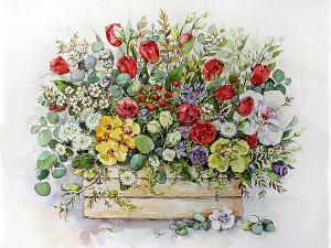 Картина по номерам MG2183 Садовый букет в ящике