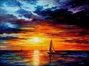 Картина по номерам MG060 Корабли уходят на закат