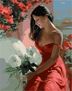 Картина по номерам MG1085 Девушка с белыми цветами