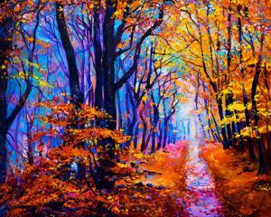 Картина по номерам MG2414 Осенняя лесная тропа