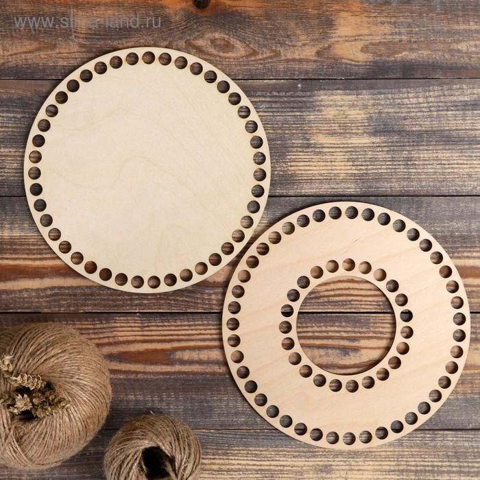 Набор заготовок для вязания корзины/копилки (2 в 1), фанера 3 мм, 20 см, вырез 8 см, d=10мм