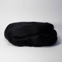 Шерсть для валяния, лента гребенная, Камтекс, полутонкая, 50г (003 чёрный)