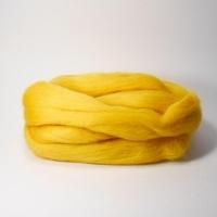 Шерсть для валяния, лента гребенная, Камтекс, полутонкая, 50г (104 желтый)